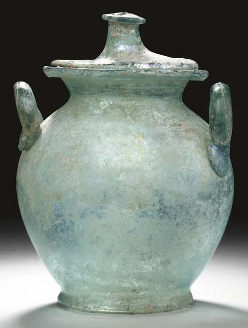 A LARGE ROMAN GLASS CINERARY URN