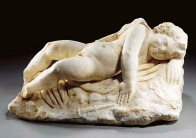 A ROMAN MARBLE FIGURE OF A SLE