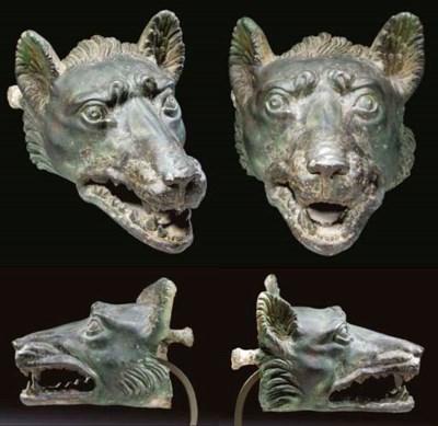 A ROMAN BRONZE HEAD OF A WOLF