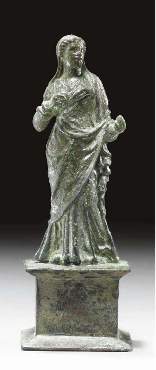 A ROMAN BRONZE FIGURE OF HYGEI