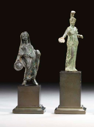 TWO ROMAN BRONZE FIGURES