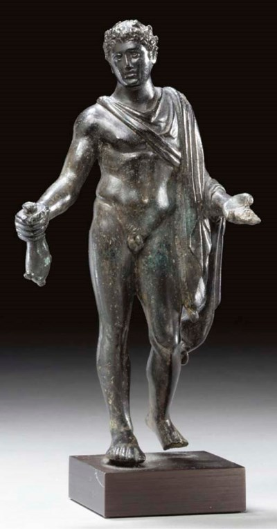 A ROMAN BRONZE FIGURE OF MERCU