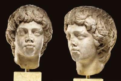 A ROMAN MARBLE PORTRAIT HEAD O