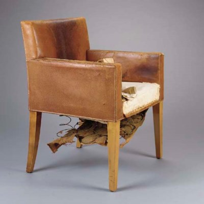 A LEATHER UPHOLSTERED SYCAMORE