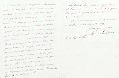 BUCHANAN, James. Autograph let