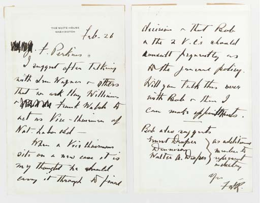"ROOSEVELT, Franklin D. (1882-1945), President. Autograph letter signed (""FDR."") as President, TO SECRETARY OF LABOR FRANCES PERKINS (1882-1965), Washington, 26 Feb, n.y. [c. 1936].  2 pages, 8vo (8 1/8 x 5 1/8 in.), boldly penned in dark ink on rectos only of two sheets of pale gray stationery, page 1 with ""The White House, Washington"" imprinted in silver, verso with trace of mounting."