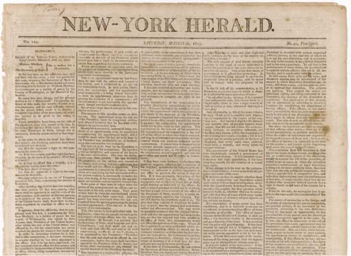 [SUPREME COURT, Marbury v. Madison].New York Herald, No.129. New York: Printed and Published by Michael Burnham, No.40 Pine St., 26 March 1803.