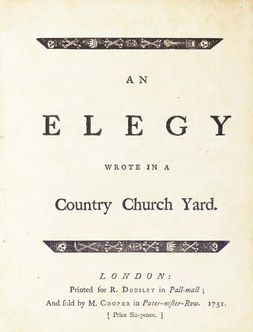 [GRAY, Thomas (1716-1771)]. An