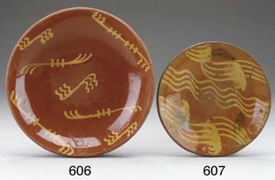 A SLIP DECORATED REDWARE CHARG