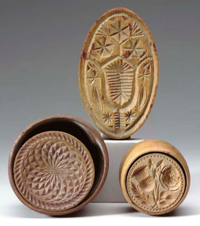 TWO CHIP-CARVED BUTTER PRINTS