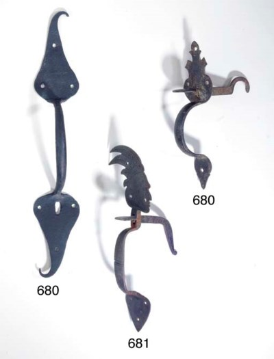 TWO WROUGHT IRON THUMB LATCHES