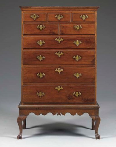 A QUEEN ANNE WALNUT CHEST-ON-F