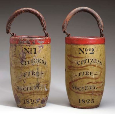 A PAIR OF PAINT DECORATED FIRE