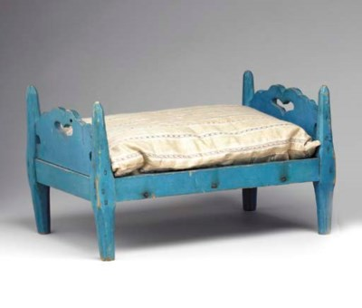 A BLUE-PAINTED DOLL BED