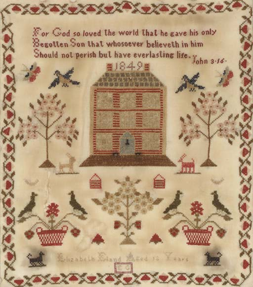 A SILK ON LINEN NEEDLEWORK SAMPLER