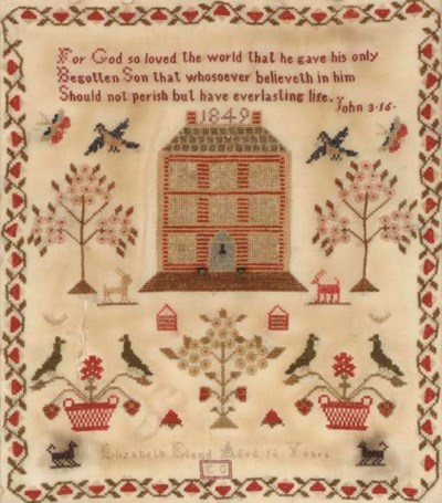 A SILK ON LINEN NEEDLEWORK SAM