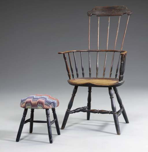 A BLUE-PAINTED COMB-BACK WINDSOR ARMCHAIR AND FOOTSTOOL
