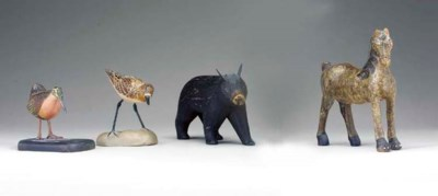 A GROUP OF MINIATURE CARVED AN