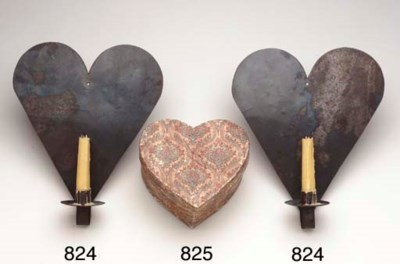 A PAIR OF HEART-SHAPED WROUGHT