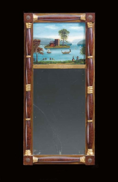 A CLASSICAL PAINTED AND GILT-D