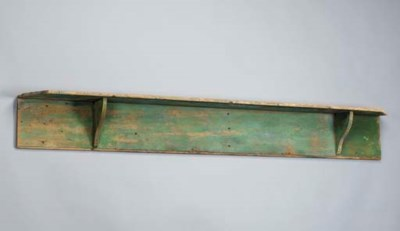 A GREEN PAINTED HANGING SHELF
