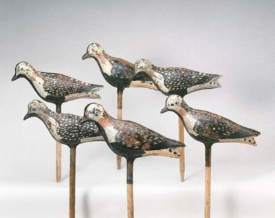 A GROUP OF TIN SHOREBIRDS