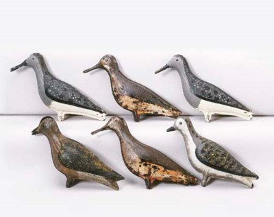 A GROUP OF SIX TIN SHOREBIRDS