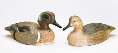 A PAIR OF GREEN WING TEAL