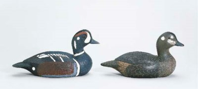 A HARLEQUIN DUCK, HEN AND DRAK