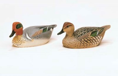 A PAIR OF GREENWING TEAL