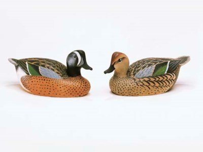 A PAIR OF BLUEWING TEAL