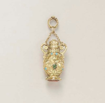 AN ANTIQUE GOLD AND MULTI-GEM