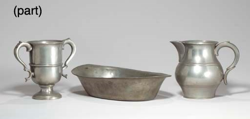 A GROUP OF PEWTER KITCHEN ACCE