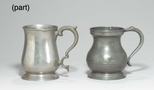 A GROUP OF PEWTER MEASURES,