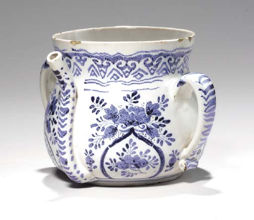 A DELFT BLUE AND WHITE POSSET