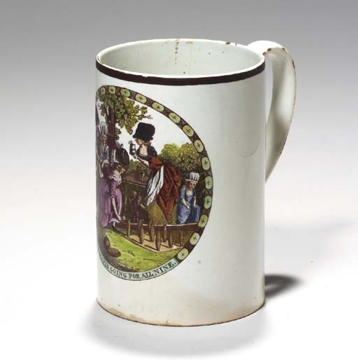 AN ENGLISH CREAMWARE BLACK-TRA
