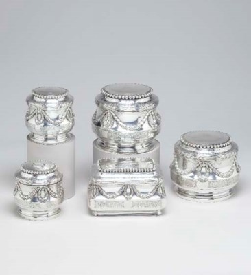 FIVE FRENCH SILVER TOILET BOXE