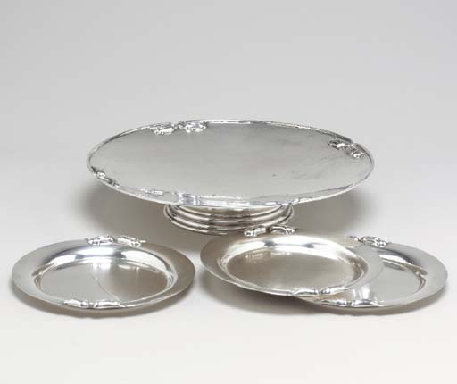 A CANADIAN SILVER CAKE PLATE,