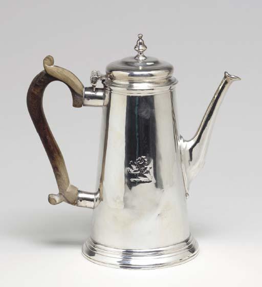AN ENGLISH SILVER COFFEE POT,