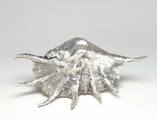 A SILVER-COATED CONCH SHELL, B