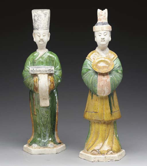 A Pair of Glazed and Painted P