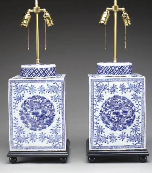 A Pair of Blue and White Squar