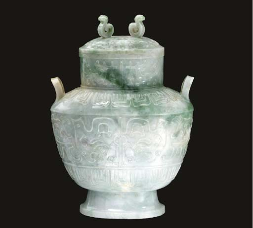A mottled white and green jade