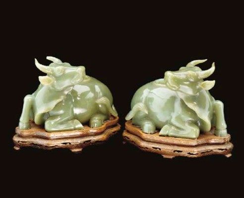 A pair of spinach-green jade b