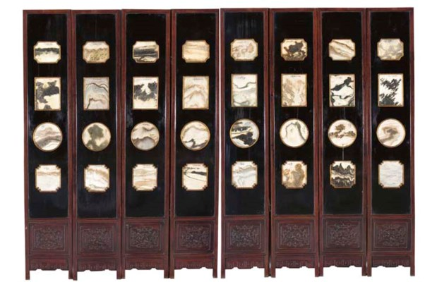 AN EIGHT-PANEL MARBLE-INSET LA
