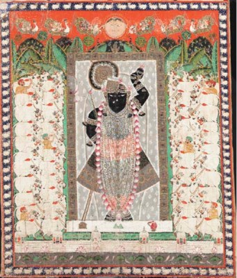 A textile hanging of Krishna a