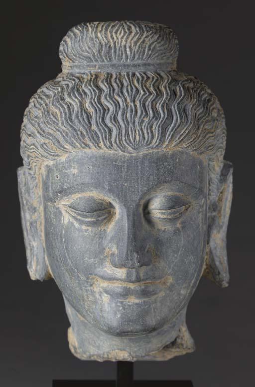 A Gray Schist Head of Buddha,