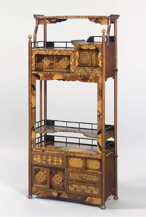 A JAPANESE FRUITWOOD PARQUETRY