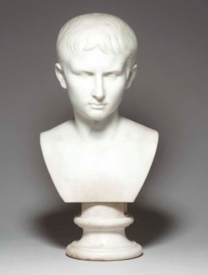 A MARBLE BUST OF AN EMPEROR,