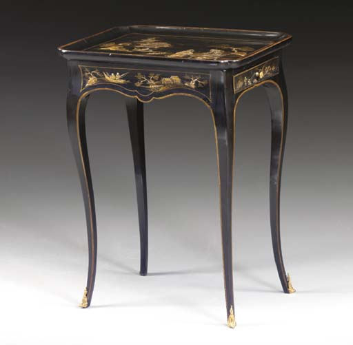 A LOUIS XV BLACK AND GILT JAPA